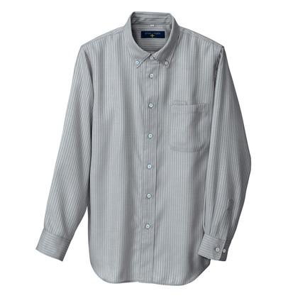 アイトス 長袖ボタンダウンシャツ(ヘリンボーン)(男女兼用) 014チャコール L 50403-014-L