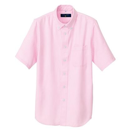 アイトス 半袖ボタンダウンシャツ(ヘリンボーン)(男女兼用) 060ピンク 5L 50404-060-5L