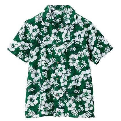 アイトス アロハシャツ(ハイビスカス)(男女兼用) 015グリーン 3S 56102-015-3S