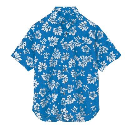 アイトス ボタンダウンアロハシャツ(ハワイの夜)(男女兼用) 006ブルー L 56109-006-L