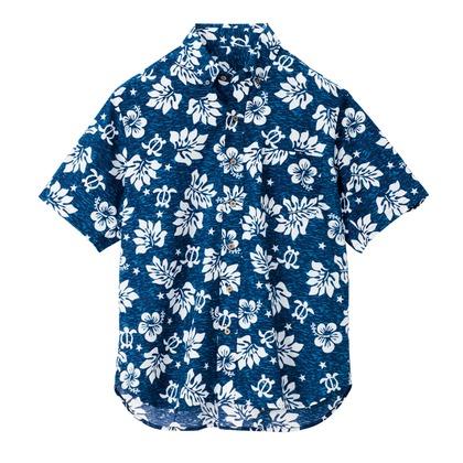 アイトス ボタンダウンアロハシャツ(ハワイの夜)(男女兼用) 008ネイビー 5L 56109-008-5L