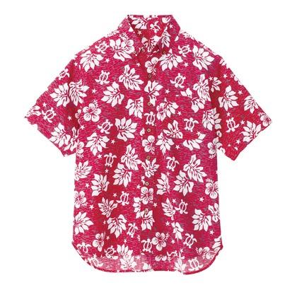 アイトス ボタンダウンアロハシャツ(ハワイの夜)(男女兼用) 009レッド SS 56109-009-SS