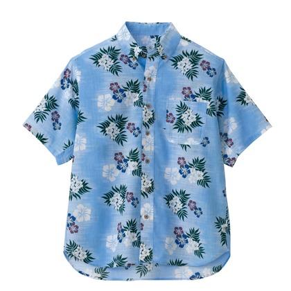 アイトス ボタンダウンアロハシャツ(カジーマ)(男女兼用) 007サックス 3L 56110-007-3L