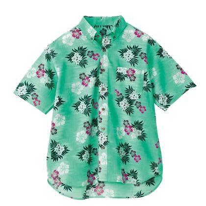 アイトス ボタンダウンアロハシャツ(カジーマ)(男女兼用) 015グリーン 3S 56110-015-3S
