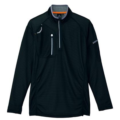 長袖ハーフZIPシャツ(男女兼用) 010ブラック M 10606-010-M