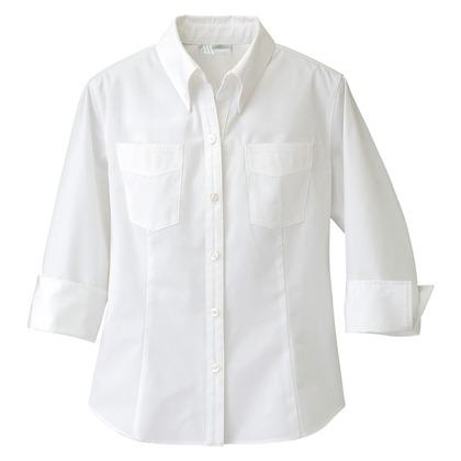 アイトス レディース七分袖ボタンダウンシャツ 001ホワイト M 861204-001-M