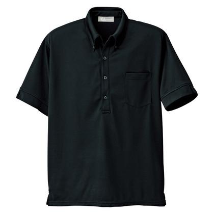 アイトス メンズ半袖ニットボタンダウンシャツ 010ブラック 4L 861206-010-4L