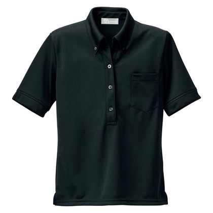 アイトス レディース半袖ニットボタンダウンシャツ 010ブラック 3L 861207-010-3L