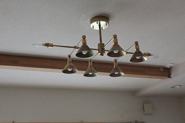 インダストリアルライト 真鍮生地8灯シーリングライト