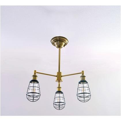 シバタ照明 インダストリアルライト 真鍮ブロンズメッキ3灯シーリングライト(ランプ別売) 照明プレート 1台