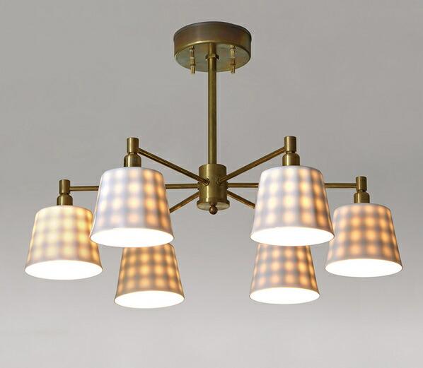 インダストリアルライト 真鍮生地6灯シーリングライト