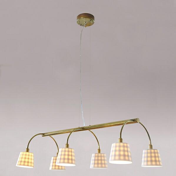 インダストリアルライト 真鍮生地6灯ワイヤー吊ペンダントライト