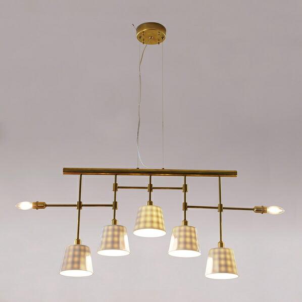 インダストリアルライト 真鍮生地7灯ワイヤー吊ペンダントライト