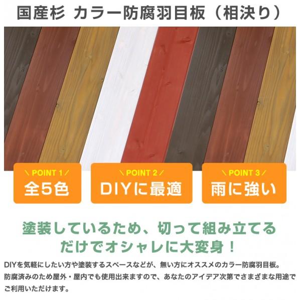 DIY FACTORY 羽目板/杉 カラー 防腐 羽目板 レッド 約18x33x1000(mm) 1個