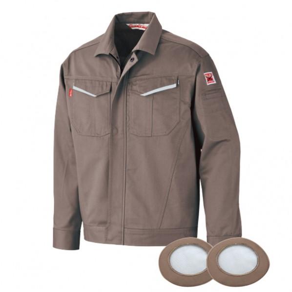 【送料無料】ブレイン 防炎空調エアコン服  グレー LLサイズ(胸囲128、着丈70、肩巾54、袖丈60cm) BR-2000GLL 1着