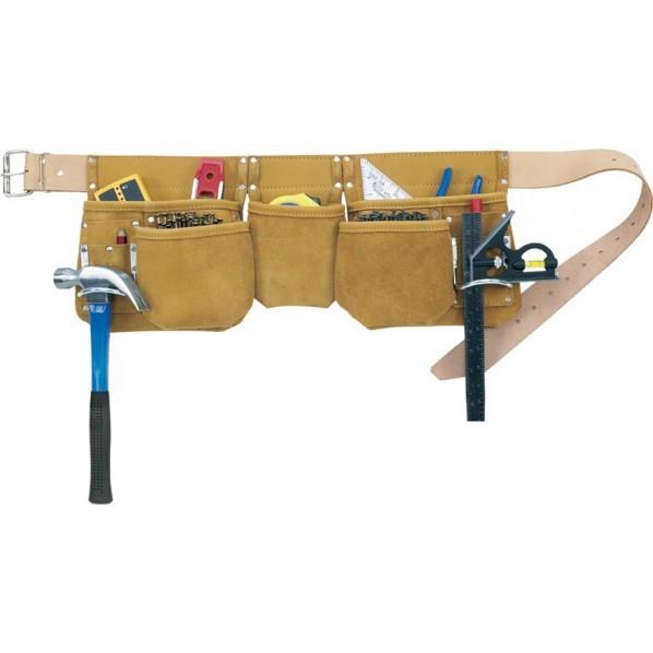 【送料無料】クニーズ 革製腰袋ダブルバッグ腰袋」両側ベルト(ベルト付き) AP-630