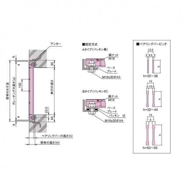 ボルト固定式 細目正方形桝用スチールグレーチング