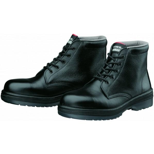 【送料無料】ドンケルコマンド ラバー2層底安全靴(ヒモ)耐滑 ミドルカット ブラック 25.5cm R2-03 1足