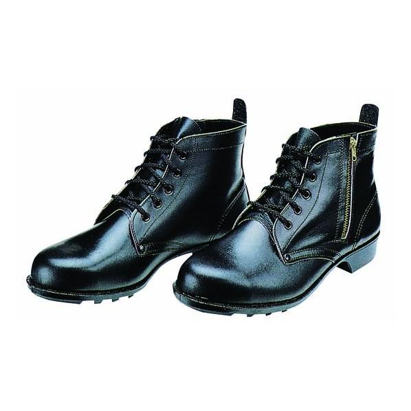【送料無料】ドンケル ファスナー付安全靴(ミドルカット)ラバー1層底 耐滑 ブラック 25.5cm 603T 1足