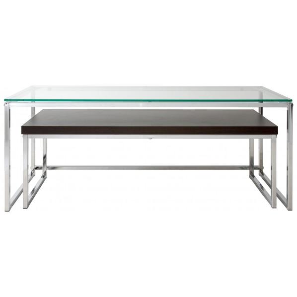 【送料無料】Yunica(ユニカ) ガラスと木板のネストテーブル AR-GT110 1個
