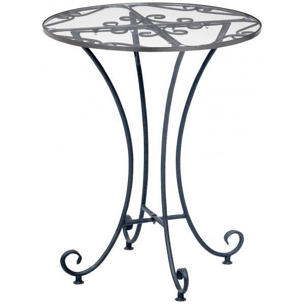 【送料無料】DEL SOL(デル・ソル) 優美な装飾のガラスラウンドテーブル DS-T3241 1個