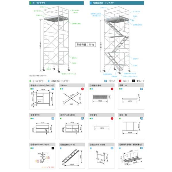 内階段式ローリングタワー 3段セット