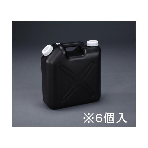 【送料無料】エスコ(esco) 10L ポリタンク(黒) (ポリエチレン製/ノズル無/6個 EA508AT-310B 6個