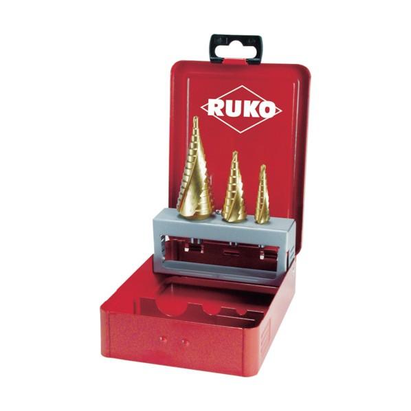 【送料無料】RUKO RUKO 2枚刃スパイラルステップドリルセット 3本組 チタン 175 x 113 x 39 mm 101026T 1本