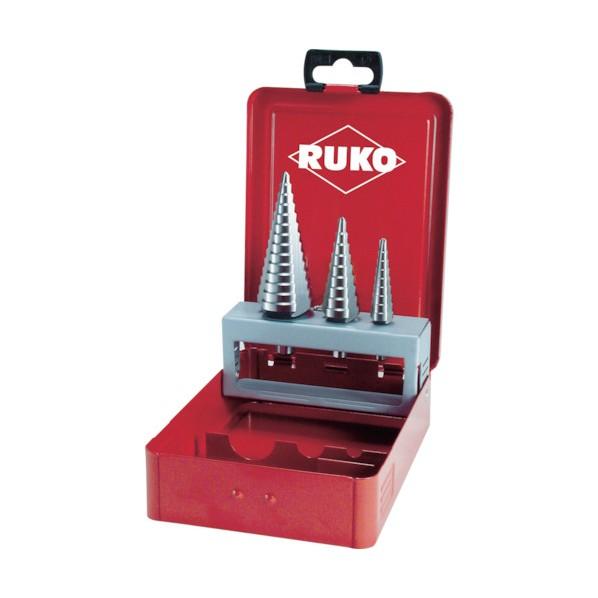 【送料無料】RUKO RUKO 3枚刃ステップドリル 3本組セット 160 x 110 x 35 mm 101326 1本