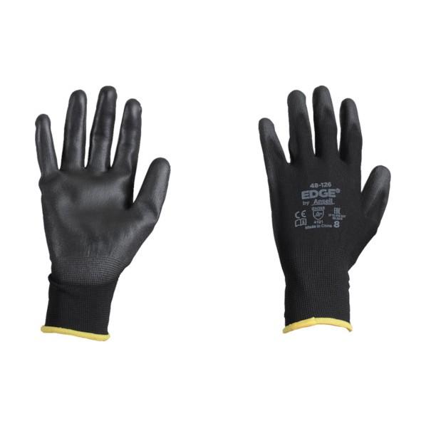 アンセル ウレタン背抜手袋 エッジ 48-126 ブラック Sサイズ