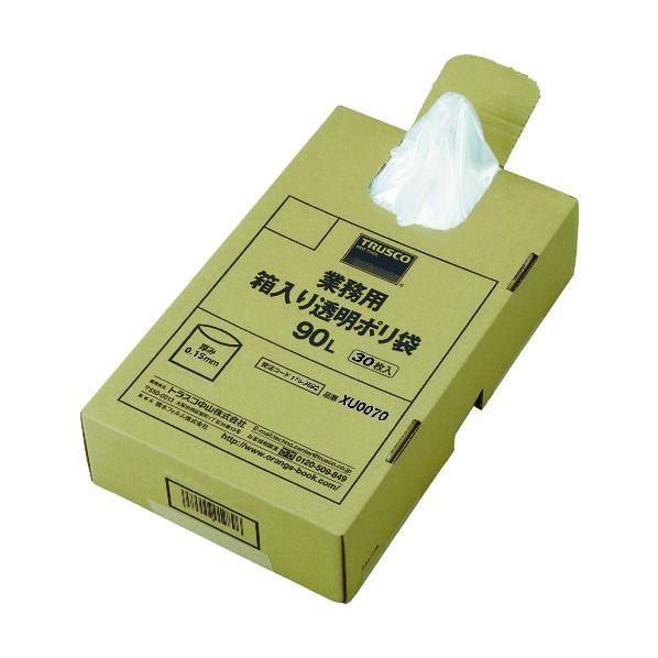 【送料無料】TRUSCO TRUSCO まとめ買い 業務用ポリ袋 透明・箱入 0.15×90L  (30枚入) 480×295×120MM XU0090 30枚