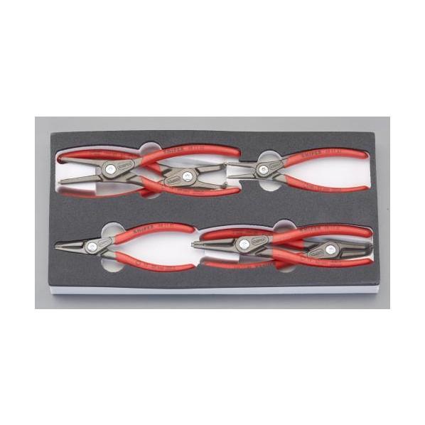【送料無料】エスコ(esco) 6本組 スナップリングプライヤー(軸・穴用) EA590-19 1セット