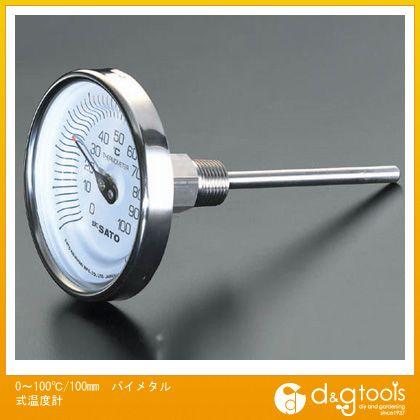 【送料無料】エスコ 0〜100℃/100mmバイメタル式温度計 EA727AB-7 0