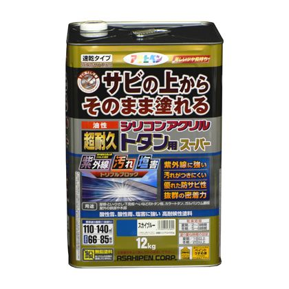 【送料無料】アサヒペン 油性超耐久シリコンアクリルトタン用 黒 12kg 1