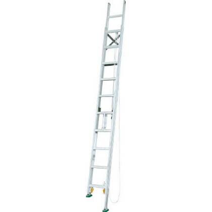 脚伸縮二連はしご全長6.37m最大使用質量100kg  全長:6.05m~6.37m 縮長:4.32m~4.64m 収納長:3.89m MDE-64D  本