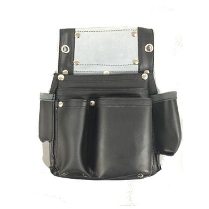 皮製釘袋サイドポケット付 黒 W200×H300mm ZL-034BK