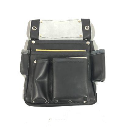 皮製仮枠釘袋サイドポケット付 黒 W240×H340mm ZL-035BK