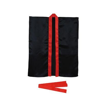 アーテック サテンハッピ 袖なし(帯付) S 黒(襟赤) 3239