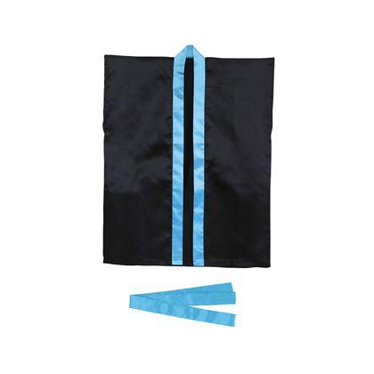 アーテック サテンハッピ 袖なし(帯付) S 黒(襟青) 3240