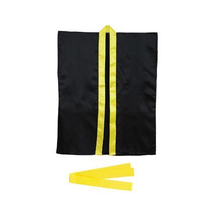 アーテック サテンハッピ 袖なし(帯付) L 黒(襟黄) 3246
