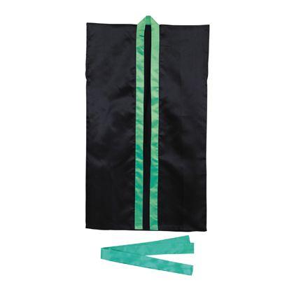 アーテック サテンロングハッピS(ハチマキ付) 黒(緑襟) 3266