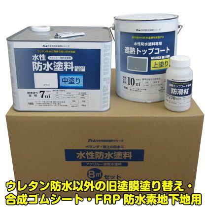 【送料無料】アトムサポート 水性防水塗料8m2セット 中塗りホワイト/上塗り遮熱グレー 00001-23075 0