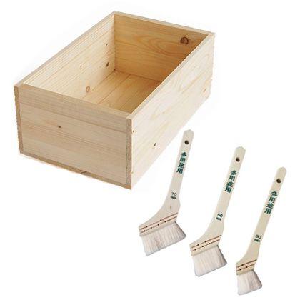 DIYで人気!りんご箱と刷毛3本セット  箱サイズ:300×640×310mm