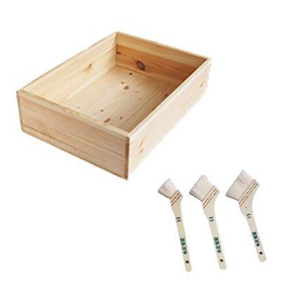 DIYで人気!りんご箱と刷毛のセット  幅×奥行×高さ:290×390×120(mm)