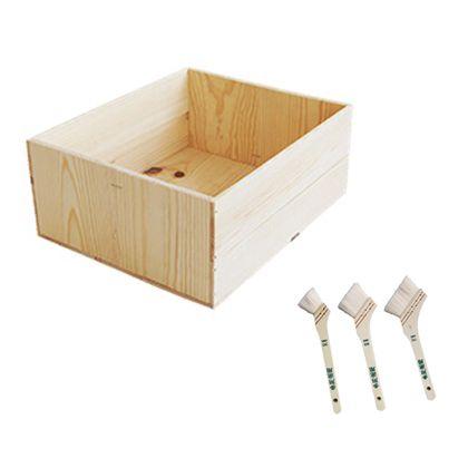 DIYで人気!りんご箱と刷毛のセット  幅×奥行×高さ:380×460×190(mm)