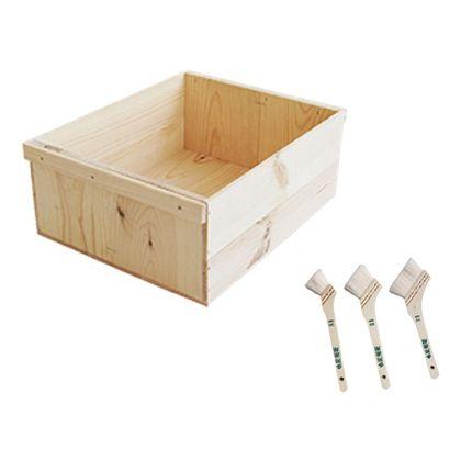 DIYで人気!りんご箱と刷毛のセット  幅×奥行×高さ:380×480×190(mm)
