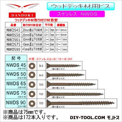 ウッドデッキ材用ビス NWDS 12号  75mm 448-D-151 172 本