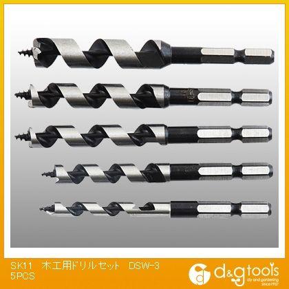 六角軸木工用ドリルセット   EDSW-3 5 本組
