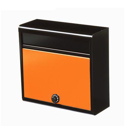 【送料無料】グリーンライフ 家庭用郵便ポスト(ダイヤル錠付) 本体:マッドブラック、取出口:オレンジ FH-614D(MB/OR) 郵便受け 鍵付き 1個