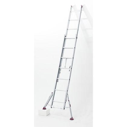 ハセガワスタビライザー付脚部伸縮式2連はしごハチ型 シルバー  LSS2 1.0-81